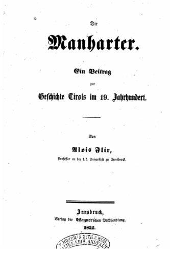 Price comparison product image Die Manharter,  ein beitrag zur geschichte Tirols im 19. jahrhundert