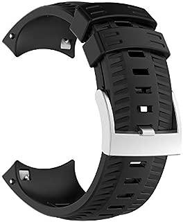 Smartwatch Bands for Suunto Spartan Sport Wrist Hr Baro / Suunto9 / D5 / Traverse Expedition Silicone Strap Watch Strap Official Buckle Smartwatch Strap (Black)