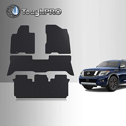 TOUGHPRO Floor Mats 1st + 2nd + 3rd Row Compatible with Nissan Armada - 2ndRow No Center Console - All Weather - Black Rubber - 2006, 2007, 2008, 2009, 2010, 2011, 2012, 2013, 2014, 2015