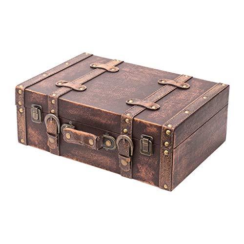 HMF 6433-138 Vintage Koffer aus Holz | 38 x 26 x 13 cm | Groß | Deko Klassik