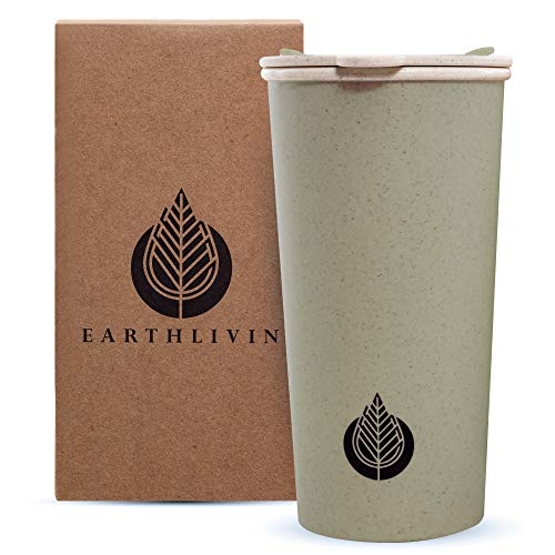 Earthivin Reusable Coffee Cup with Lid – 400 ML Travel Mug Made of Eco-Friendly Wheat Straw + PP for Hot and Cold Drinks – Microwave, Freezer and Dishwasher Safe with Non-Slip Texture (Green)