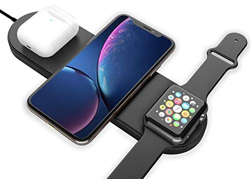 Wireless Charger 3 in 1 Compatible with Apple Watch & AirPods 2 Charging Dock Station, Nightstand Mode for iWatch Series 5/4/3/2/1, iPhone 11/11 Pro Max/XR/XS Max/Xs Fast QC 3.0 Adapter Included