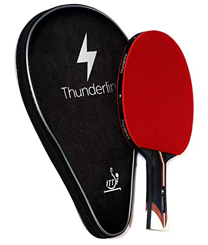 Thunderline 6 Star Premium Ping Pong Paddle  Bonus Professional Case  Advanced Table Tennis Racket  ITTF Approved Rubber