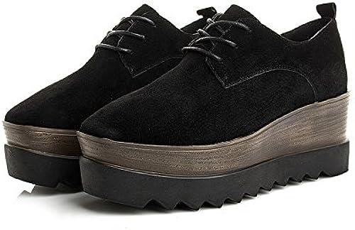 KHSKX-Los Nuevos zapatos De Cuero zapatos De plataforma Moda zapatos De Moda Con PendientenegroTreinta Y Siete