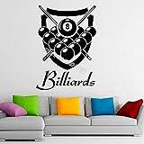 jiushivr Billard Stickers Muraux Personnalisé Personnalisé Nom Decal Vinyle Snooker Sport Jeu Home Design Intérieur Enfant Chambre Décor 56x78 cm