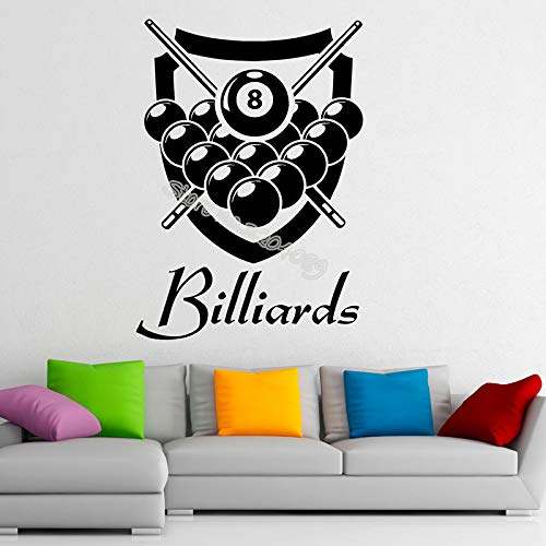 zqyjhkou Billiard Wall Stickers Personalized Custom Name Vinyl Decal Snooker Sports Game Home Interior Design Child Bedroom Decor 58x81cm