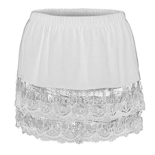 Toamen Women Skirt Adjustable Layering Fake Top Lower Sweep Skirt Set Casual Basic Half-Length Splitting Shirt Extenders(White,XXXXXL)