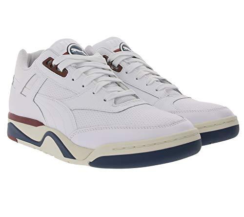 PUMA Palace Guard Core Sneaker modische Herren Echtleder-Schuhe Basketball-Schuhe Freizeit-Schuhe Weiß/Blau/Rot, Größe:42
