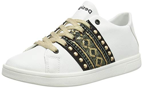 Desigual Shoes Cosmic Exotic Gold, Zapatillas para Mujer, Blanco (Blanco 1000), 41 EU