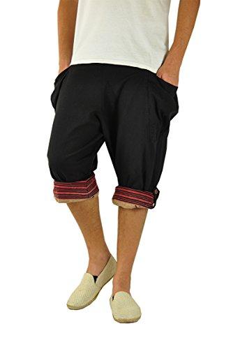 virblatt - Kurze Haremshose Herren | Baumwolle | Sommerhose Kurze Hose Sommer Aladinhose Herren Shorts Hippie 3/4 Hose Herren - Großzügig schwarz