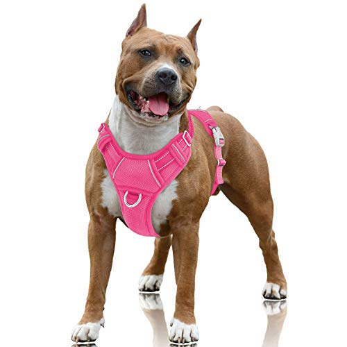 BARKBAY No Pull Dog Harness Large Step in Reflective Dog Harness with Front Clip and Easy Control Handle for Walking Training Running with ID tag Pocket(Pink,L)