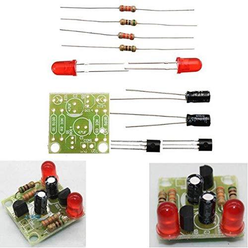 Módulo electrónico DIY SIMPLE LED RED FLOSHTLANTE KITS DE CIRCUITO DIY MULTIHARMONICOS Oscilating Circuitos electrónicos Conjuntos de PCB + Componentes electrónicos + Instrucciones DC 3-14V Equipo ele
