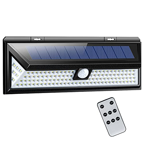 Solar Lights Outdoor, 118 LED Remote Control Lights, Motion Sensor Light with 270° Wide Angle, IP65 Waterproof Wireless Security Wall Lights for Front Door, Yard, Garage