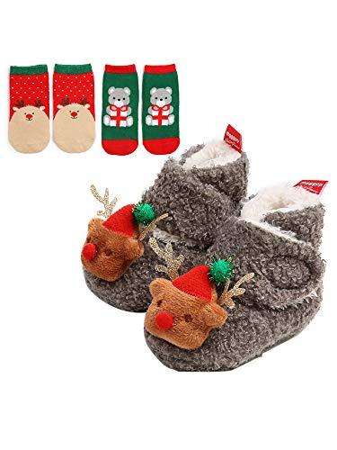 WANGSCANIS 3 Stück Weihnachten Kleinkind Baby Weiche Unterseite Plüsch Winter Cartoon Weihnachten Weihnachtsmann Hirsch Baby Mädchen Junge 1 Warm Gr. 86, grau