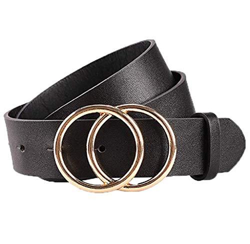 bobo4818 Gürtel Elastischer für Damen Schmaler Damen Gürtel mit runder Metallschnalle zwei Ringen, 3,8 cm breit stark verstellbaren Guertel mit Legierung schnalle (M, Schwarz)