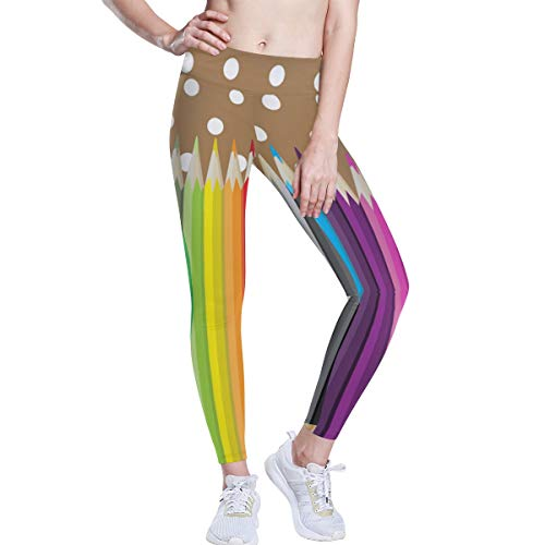 CHINEIN Women's High Waisted Pattern Leggings Full-Length Yoga Pants Colored Art Pencils Raibbow Crayon