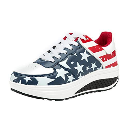 Fenverk Damen amerikanisch Flagge Herde römisch Unterhose Auf Hosenschuhe Keile Beiläufig Schuhe (Dunkelblau,39 EU)