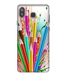 Printfidaa Multipencils Hard Printed Designer Case for Samsung Galaxy A8 Star Back Cover MOK1744