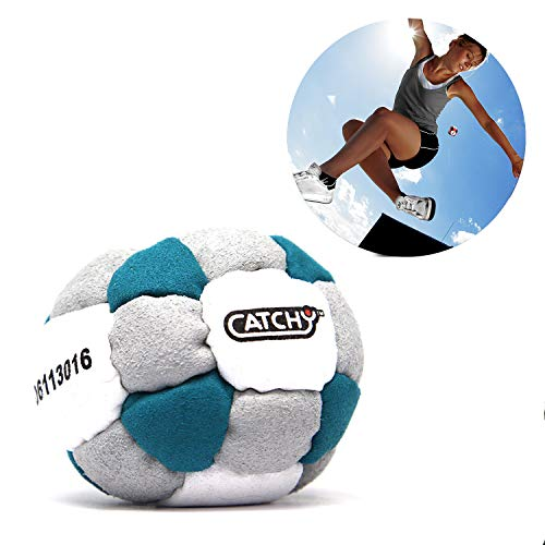 YoYo Factory Catchy Footbag (Hacky Sack) - TÜRKIS / GRAU (26 Panel HackySack, Freistil Foot Bag, Vom Anfänger Zum Profi)