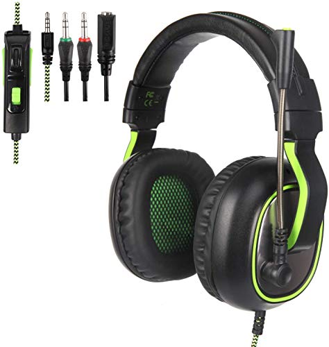 SUPSOO G815 Newest Version USB Surround Stereo Wired PC Gaming Headset Over Ear Headphones with Mic Revolution Volume Control Noise Canceling LED Light for PC/MAC/Computer(Black/Green) Headsets