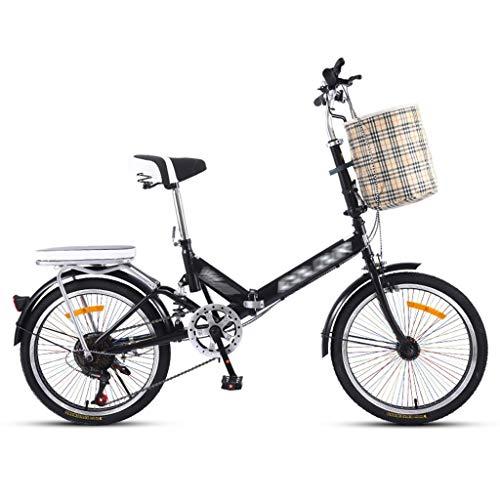 Bicicletas Deportiva Deportiva Plegable Rueda pequeña portátil Ultraligera para Adultos con Velocidad Variable (Color : Black, Size : 155 * 10 * 114cm)