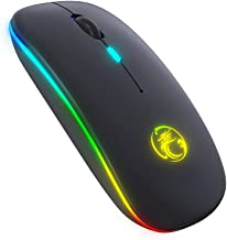 LED Wireless Mouse, Rechargeable Wireless Noiseless Mouse with USB Nano Receiver, 3 Adjustable DPI Levels, 2.4G Portable U...