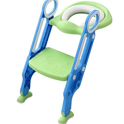 KALUNBS Riduttore WC per Bambini Ergonomico Con Schienale Alto, Baby training WC vasino sedile con scaletta, antiscivolo, resistente, design pieghevole e regolabile in altezza