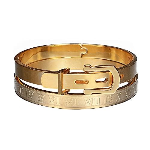 Clásico brazalete de acero inoxidable de lujo pulseras hombres moda titanio tipo C trenzado número romano brazalete para hombres