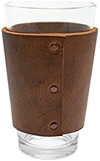Rustic Leather Pint Sleeve Handmade by Hide & Drink :: Bourbon Brown