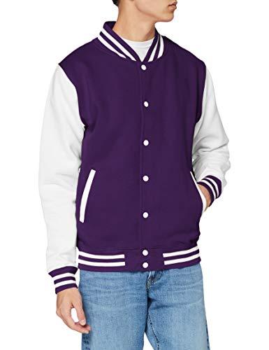 Just Hoods by AWDis Varsity Jacket, Blouson Homme, Purple (Purple/White), Medium (taille Fabricant: Medium)