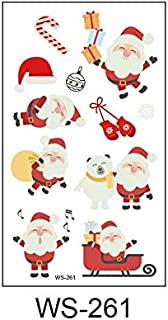 Glaryyears 1 Sheet Luminous Kids Temporary Tattoo Sticker Christmas Flash Waterproof Fashion Small Body Art for Child (Color : WS 261)
