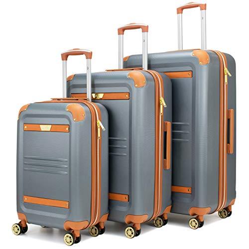 19V69 Italia Vintage Expandable Hard Spinner Luggage 3 Piece Set (Grigio Gray)