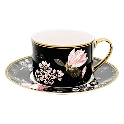 GreenGate - Cup & Saucer - Tasse mit Untertasse/Kaffeetasse/Teetasse - Amelie Black - New Bone China Porzellan - Schwarz/Bunt/Gold - H: 7cm - Nicht Spülmaschinenfest/Nicht Mikrowellengeeignet