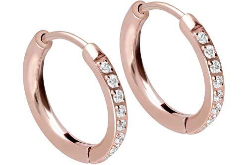 FILANGO - Orecchini a cerchio in acciaio chirurgico, con cristalli e 10 mm di diametro interno., colore: oro rosa., cod. CSO328-RO-10