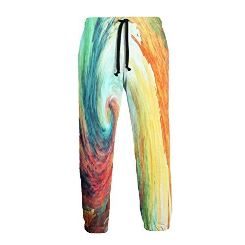 136 Pantalones deportivos coloridos con cordón para hombre