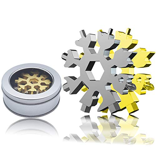 Gift for Men 18-in-1 Snowflake Multi Tool, BLEDS Snowflake Multitool 18 in 1, Stainless Steel Snowflake Tool, Snowflake Screwdriver multitool for New Year Christmas Gift with Box (Gold + Silver)