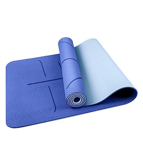 Oudort Esterilla Yoga Antideslizante, Yoga Mat de Material Ecológico TPE y 6mm de Grosor con Sistema de Línea y Correa de Transporte para Pilates, Fitness y Yoga, 183 x 61cm