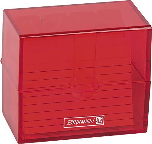 Brunnen 102058023 Karteikasten, 8, 5 x 7, 5 x 4, 8 cm (für A8 Karteikarten), Polystyrol, Red, Colour Code
