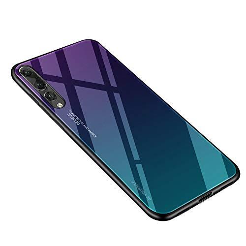 Alsoar - Funda ultradelgada para Huawei P20 Pro - Funda protectora con cristal templado Gradiente 9H - Marco de silicona suave, antigolpes, antiarañazos P20 Pro Aurora Blu