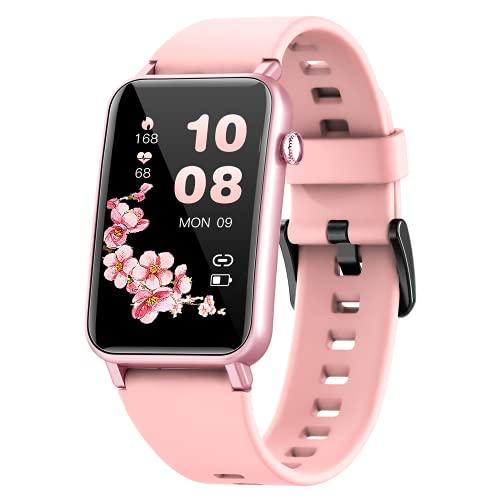 NAIXUES Smartwatch Donna, 1.57 Pollici Orologio Fitness IP68 Cardiofrequenzimetro SpO2, Smart Watch Donna Bluetooth con Notifiche Messaggi Activity Tracker Contapassi Calorie per Android iOS (Rosa)