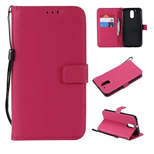 Snow Color Moto G4 / G4Plus Hülle, Premium Leder Tasche Flip Wallet Case [Standfunktion] [Kartenfächern] PU-Leder Schutzhülle Brieftasche Handyhülle für Motorola Moto G4 Plus - COMS020960 Rosa Rot