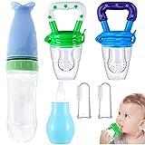 Qixuer 1Pcs Botella de Alimentación de Silicona,2 Pcs Cepillo Dedo Bebe 1Pcs Aspirador Nasal 2 Pcs Chupete Fruta Bebe Baby Feeder Bebés Mesh Feeder para Recién Nacido Suplemento de Comida