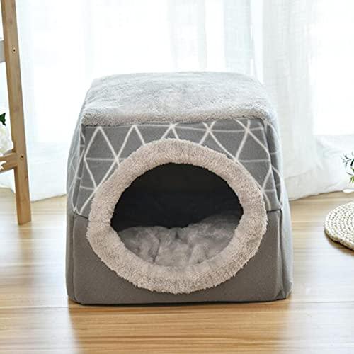 ZSDFW Cama suave 2 en 1 para perro y gato, cama suave, bolsa de dormir, tienda de campaña para dormir, camas cálidas y acogedoras, cueva para perros pequeños, gatito, hámster, XL gris