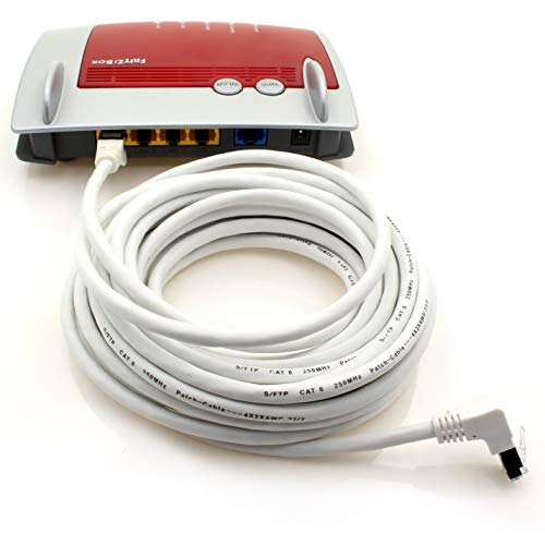 1aTTack.de 366303 Cat.6 Netzwerkkabel Winkel 90 Grad 15m - weiß - 1 Stück - Cat6 Patchkabel (SFTP PIMF) 1000Mbit/s Rj 45 Stecker - 1 x 15m Meter weiß