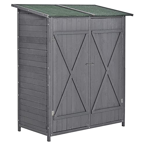 Outsunny Garden Wood Storage Shed w/Storage Table, Asphalt Roof, Double Door Lockable Sheds & Outdoor Storage Tool Organizer, 139 x 69 x 160cm, Grey