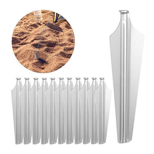 Relaxdays 12er Set Sandheringe, leichte Zeltheringe aus Aluminium, weiche & sandige Böden, breit, 32,5 cm lang, silber
