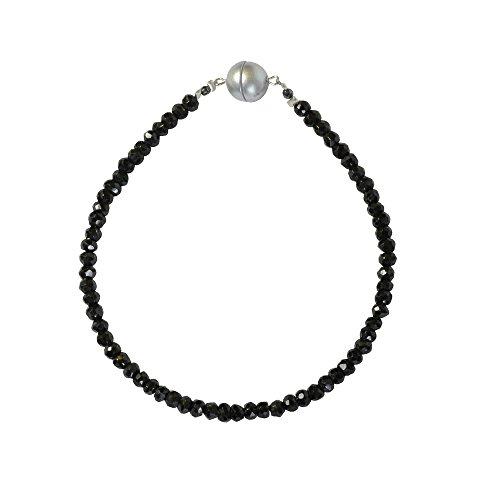 Armband facettierter, schwarzer Spinell, ca. 19,5 cm, Magnetschloss, Rondell-Form, Damen