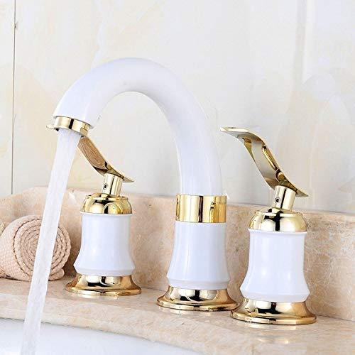 Grifo del baño, grifo de lavabo, grifo de agua caliente y fría instalada en el mostrador con 2 asas, negro/blanco Hudson Studio (Color : White)