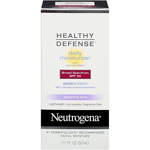 Neutrogena Healthy Defense Daily Moisturizer for Sensitive Skin with SPF 50, Mineral Sunscreen with Zinc Dioxide & Titanium Dioxide, Oil-Free & Fragrance-Free, 1.7 fl. oz
