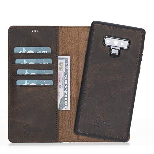 FREDO Samsung Galaxy Note 9 Lederhülle Abnehmbare 2 in 1 Handyhülle inkl. Kartenfächer für Samsung Note 9 Cover/Hülle mit Magnet/Hand Made in Europe (Vintage Braun)